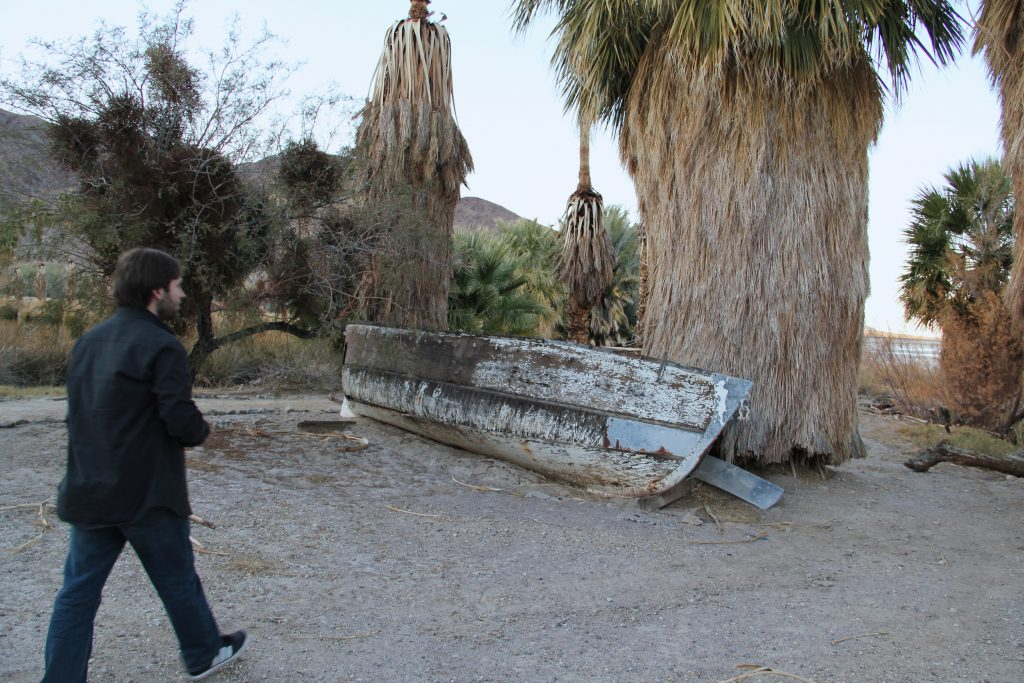 Jarek exploring Zzyzx as I photograph him... Next to a small lake, there was